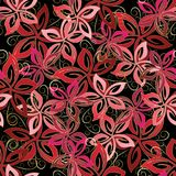 Floral vector seamless pattern. Red flowers. Swirl lines, vintage ornaments Stock Photography