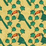 Floral vector seamless pattern with toucan birds Royalty Free Stock Photography