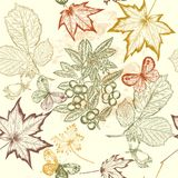 Floral  vector seamless wallpaper with foliage. Vector seamless wallpaper pattern with leafs for design Stock Photography