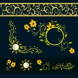 Floral vector set. Calligraphic design elements and page decoration Stock Illustration
