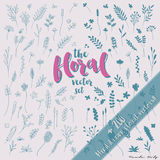 Floral Vector Set 1. More than 200 Hand Drawn floral doodles and silhouettes in vector format Stock Photography