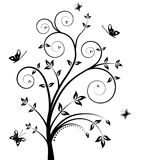 Floral vector tree. Beautiful vector floral tree with butterfly isolated on white Royalty Free Stock Photos
