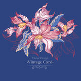 Floral Vector Vintage Card with Exotic Flowers Royalty Free Stock Images