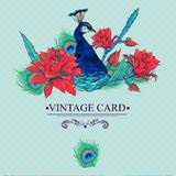 Floral Vector Vintage Card with Peacock Royalty Free Stock Image