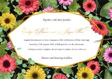 Floral vector watercolor background of multicolored gerberas and vector illustration