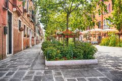 Floral venetian street - Venice, Italy royalty free stock photos