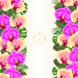 Floral vertical border seamless background bouquet with tropical flowers floral arrangement, with beautiful yellow and purple orc royalty free illustration