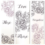 Floral vertical brochures set with hand drawn Stock Photo