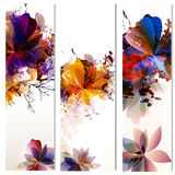 Floral vertical brochures set with leafs painted in watercolor s Stock Photo