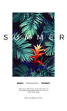 Floral vertical postcard design with guzmania flowers, monstera and royal palm leaves. Exotic hawaiian vector background Royalty Free Stock Photos