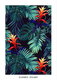 Floral vertical postcard design with guzmania flowers, monstera and royal palm leaves. Exotic hawaiian vector background Stock Photo