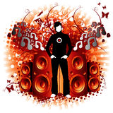 Floral Vibes. Modern design illustration with speakers blowing out tunes Stock Photos