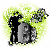 Floral Vibes. Modern design illustration with speakers blowing out tunes Royalty Free Stock Photo
