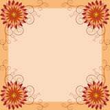 Floral vintage background, invitation or greeting card. Background with orange, red, yellow flower chrysanthemum and swirl. Invitation, greeting card in vintage Stock Photography