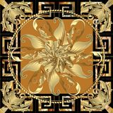 Floral vintage baroque panel pattern. Tracery decorative round 3. D mandala. Greek key meander ornamental square frame. Geometric shapes, elements, antique stock illustration