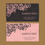 Floral vintage business cards Royalty Free Stock Images