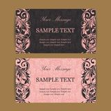 Floral vintage business cards Stock Photography