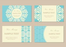 Floral vintage business or invitation cards Royalty Free Stock Photo
