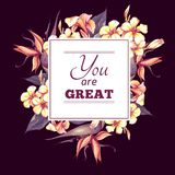 Floral Vintage Card with Exotic Flowers Royalty Free Stock Photos