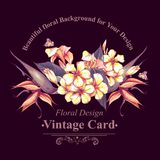 Floral Vintage Card with Exotic Flowers Stock Photo