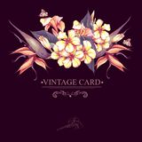 Floral Vintage Card with Exotic Flowers Stock Image