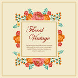 Floral vintage card. Vintage card with rose and other foliage. EPS 10 file, with no gradient meshes,blends,opacity, stroke path,brushes.Also all elements grouped vector illustration