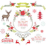 Floral Vintage Christmas Elements Royalty Free Stock Photo