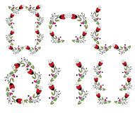 Floral Vintage Frame set on white Stock Images