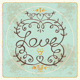 Floral vintage frame whith love lettering. Royalty Free Stock Image