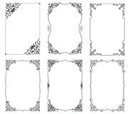 Floral vintage frames for cards design. Vector template with copy space. Retro greeting card borders vector illustration