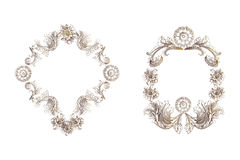 Floral vintage frames over white Royalty Free Stock Photos