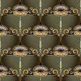 Floral vintage greek key meanders grunge seamless pattern. stock illustration