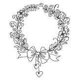 Floral vintage hand drawn vector wreath. Stock Images