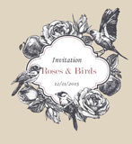 Floral vintage invitation with hand-drawn garden roses, apples and birds. Vector Royalty Free Stock Photos