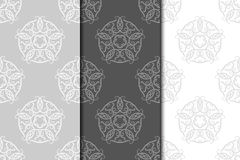 Floral vintage ornaments. Gray seamless patterns for fabric and wallpaper Royalty Free Stock Photo