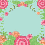 Floral Vintage Oval Frame. With place for your text. Cute retro flowers for wedding invitations. Colored hand drawn vector template Stock Image