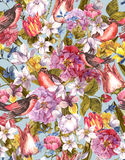 Floral Vintage Seamless Background with Bird Stock Photo
