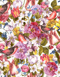 Floral Vintage Seamless Background with Bird Stock Image