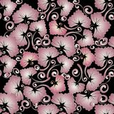 Floral vintage seamless pattern. Abstract vector black backgroun. D with pink leaves, flowers, swirl lines and flourish hand drawn ornaments. Modern design for stock illustration
