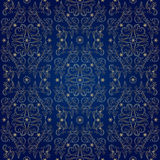 Floral vintage seamless pattern on blue background. Vector illustration Stock Photo