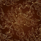 Floral vintage seamless pattern on brown background. Vector illustration Royalty Free Stock Images