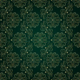 Floral vintage seamless pattern on green background. Vector illustration Stock Photo