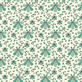 Floral vintage seamless pattern with green and emerald decorations. Royalty Free Stock Photography