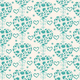 Floral vintage seamless pattern with hearts. Stock Images