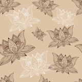 Floral vintage seamless pattern with lotus flowers. Floral boho vintage seamless pattern with lotus flowers Royalty Free Stock Photo