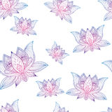 Floral vintage seamless pattern with lotus flowers. Floral bohoo vintage seamless pattern with lotus flowers Stock Images
