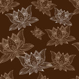 Floral vintage seamless pattern with lotus flowers. Floral bohoo vintage seamless pattern with lotus flowers Royalty Free Stock Photos