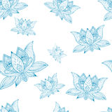 Floral vintage seamless pattern with lotus flowers. Floral bohoo vintage seamless pattern with lotus flowers Royalty Free Stock Image