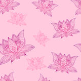 Floral vintage seamless pattern with lotus flowers. Floral bohoo vintage seamless pattern with lotus flowers Stock Photography