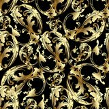 Paisley flowers in baroque style. Floral vintage seamless pattern. Paisley background. Ornamental paisley flowers with gold 3d scroll leaves and ornaments in Royalty Free Stock Image